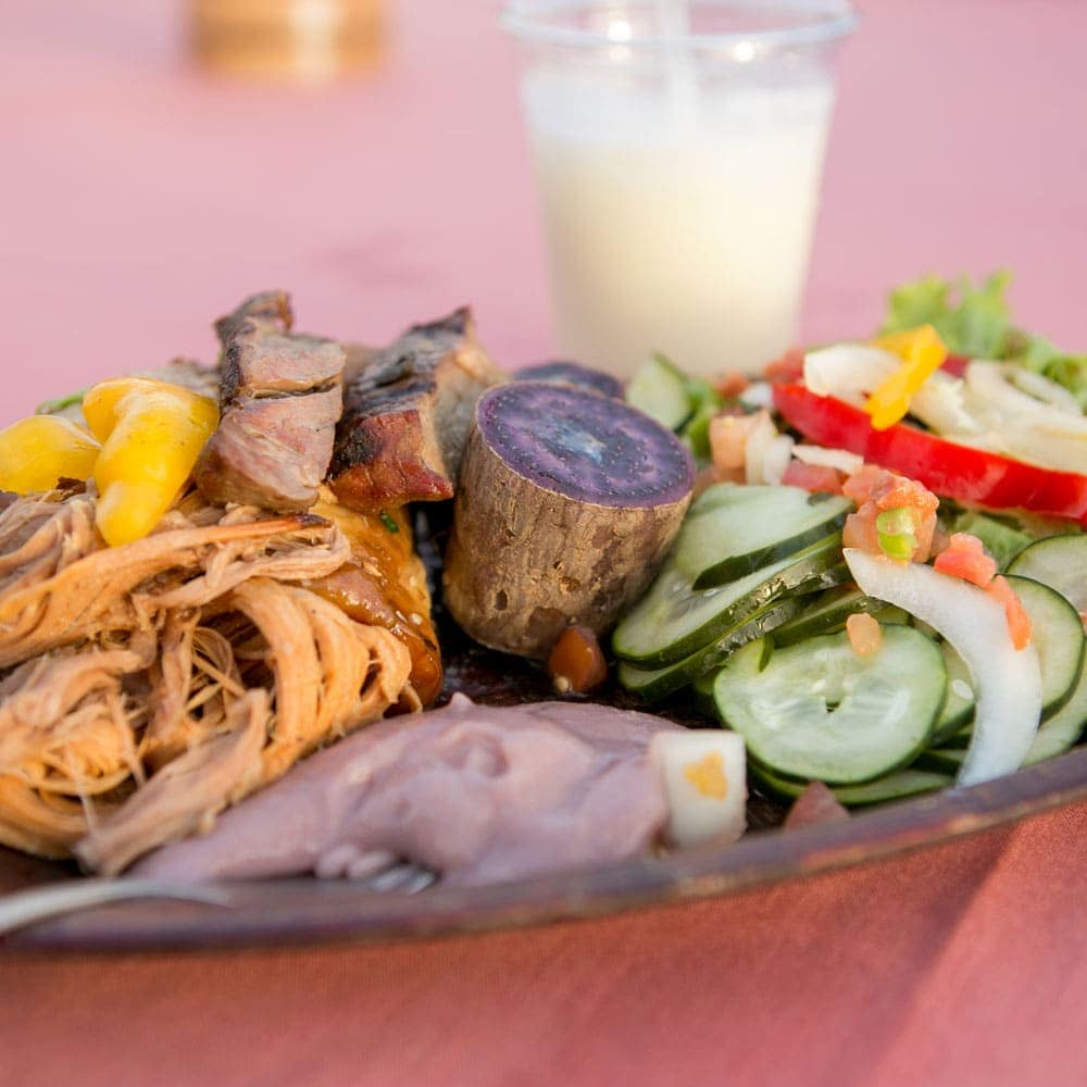 pork, poi and salad at the te au moana luau