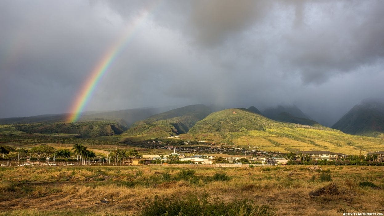 Rainbow over the town of lahaina on the tropical island of maui, Hawaii